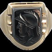 Mans vintage Art Deco 10k gold hematite intaglio shield ring signed Helm & Hahn