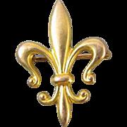 Antique Edwardian 10k gold fleur de lis brooch pin