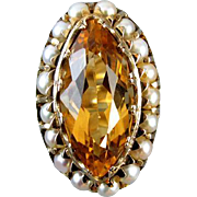 Stunning hand crafted antique Edwardian 14k gold marquise cut 6 carat citrine and seed pearl r
