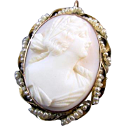 Antique Edwardian pink shell cameo 10k gold seedpearl pin brooch pendant maker signed Keller &