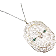 Vintage early Art Deco LARGE 14k white gold filigree emerald and diamond pendant necklace
