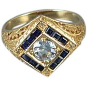 Modern estate 14k gold filigree sapphire diamond blue topaz ring