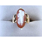 Antique Victorian rose gold hardstone sardonyx cameo seed pearl double buckle ring full body w