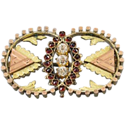 Antique mid Victorian Bohemian rose cut garnet and paste multi color gold filled circle brooch