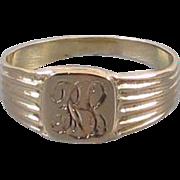 Antique Edwardian 14k gold baby infant childs signet ring