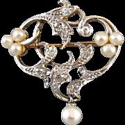 Perfect Valentine Antique Edwardian 14k platinum .50 carat diamond pearl heart brooch pendant