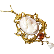Antique Victorian Art Nouveau 14k gold pink shell cameo seed pearl orange hessonite garnet lav