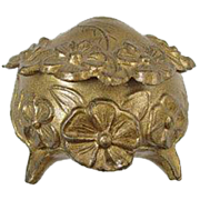 SOLD Tiny antique Victorian gold footed floral flower miniature trinket box jewelry box catch