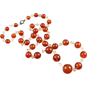 Vintage Art Deco genuine carnelian and crystal knotted bead necklace