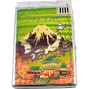 Japanese Japan Asian Oriental vintage cigarette case and lighter chrome enamel Mount Fuji coll
