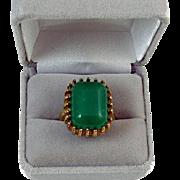 Signed McGrath-Hamin gold tone faux green jade emerald chrysoprase statement costume fashion .