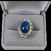 Vintage silver tone faux blue turquoise fashion costume statement ring Southwestern Native ...