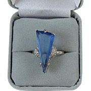 Vintage Art Deco simulated blue sapphire silver tone ladies ring size adjustable