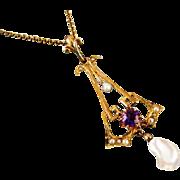 Antique Edwardian 10k gold purple amethyst seed pearl freshwater pearl lavalier pendant neckla