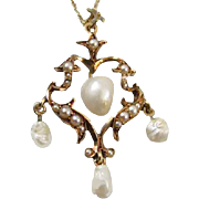 Perfect Valentine Antique Edwardian 14k gold heart shaped freshwater and seed pearl lavalier p