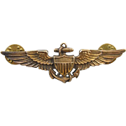 Vintage WW2 WW11 gold filled on sterling silver US Navy Pilot full size military wings ...