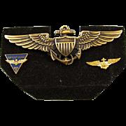 Vintage Vietnam era gold filled US Navy Pilot full size military wings navigator GROUPING pin