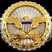 Vintage U.S. military Secretary of Defense sterling silver enamel militaria badge clutch back