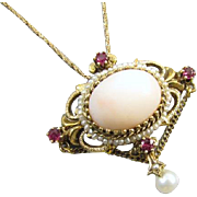 Vintage 14k gold pink angel skin coral garnet pearl chained festoon pendant necklace brooch pi