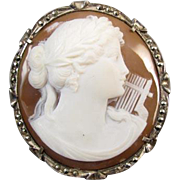 Antique Edwardian 800 silver shell cameo marcasite brooch pin pendant Terpsichore music muse w