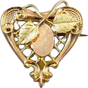Perfect Valentine Antique Edwardian tri color gold filled heart shaped brooch pin with hook ba
