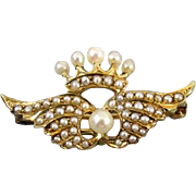 Antique Edwardian 14k gold seed pearl wings and crown brooch pendant lapel watch pin