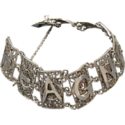 Vintage spun sterling silver 925 filigree AGNES wide link bracelet