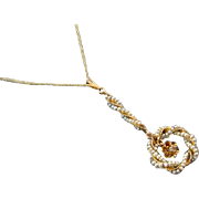 Antique Edwardian 14k gold twisted wire work seed pearl diamond wreath lavalier pendant neckla