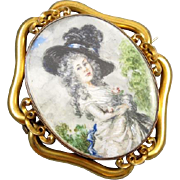 MASSIVE exceptional antique Georgian 14k gold hand painted portrait brooch pin pendant ...