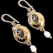 Antique Victorian 14k gold black enamel taille de epargne pearl drop earrings