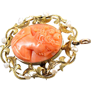 Antique Edwardian peach coral 14k yellow and green gold seed pearl cameo brooch pin pendant