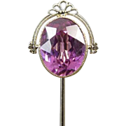 SOLD Vintage Art Deco 10k white gold syn pink sapphire stick pin stickpin lapel pin tie pin co