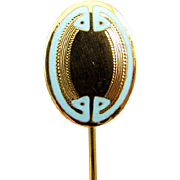 Antique Edwardian 14k gold blue enamel Greek Key stick pin stickpin lapel pin tie pin convert