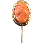 Antique Edwardian 14k rose gold peach coral cameo stick pin stickpin lapel pin tie pin convert