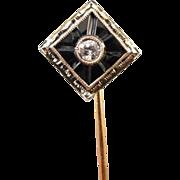 SOLD Vintage Art Deco 14k white and yellow gold black onyx diamond stick pin stickpin lapel pi