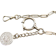 WORLDLY Antique English and Austrian Edwardian sterling silver pocket watch chain with Ottoman