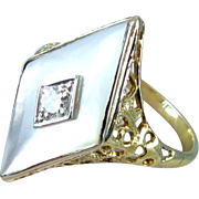 Antique Edwardian mother of pearl and diamond filigree ring