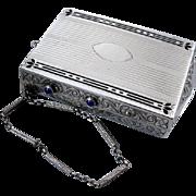 Antique Edwardian sterling silver black enamel blue sapphire clutch purse necessaire minaudier