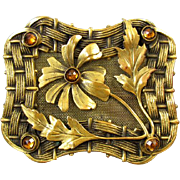 Antique Edwardian brass large sash pin brooch golden citrine topaz paste basket weave screen m