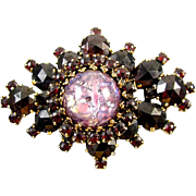 Vintage gold tone garnet rhinestone spray pin brooch pendant necklace with large foiled art gl