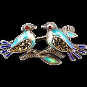 Vintage sterling silver enamel marcasite glass garnet love bird brooch pin