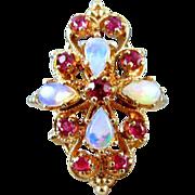 Vintage estate 14k gold opal ruby statement cocktail ring