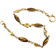 Antique Edwardian 14k gold 22k gold nugget and brown agate hardstone in matrix link bracelet