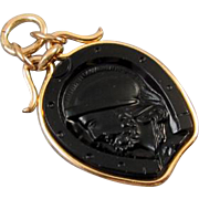 Antique Victorian black onyx intaglio horse shoe rose gold filled pocket watch fob