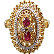 Modern estate Italian Toliro 18k two tone yellow white gold pear cut ruby diamond statement co