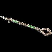 Vintage Art Deco sterling silver green enamel rhinestone septer baton or spear brooch bar pin