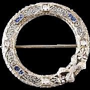 SOLD Large vintage Art Deco 14k white gold platinum filigree diamond sapphire ribbon bow circl