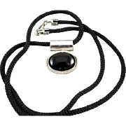 SOLD Vintage Taxco Mexico sterling silver black onyx large slide necklace pendant on black wov