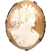 High relief antique Edwardian 800 silver shell cameo brooch pin Baccante wine goddess