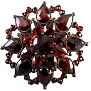 Antique Bohemian pear shaped garnets brooch pin